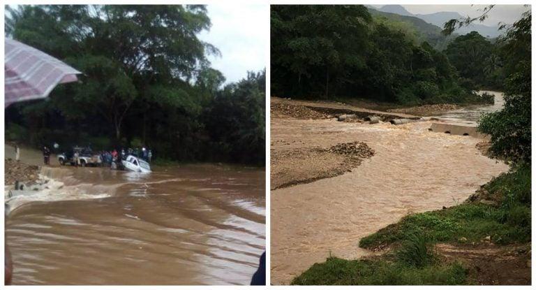 Crecida del río Tepic destruye vado y deja incomunicados a sectores de Colón