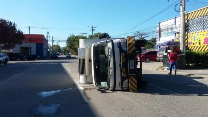 accidente de camión en San Pedro Sula