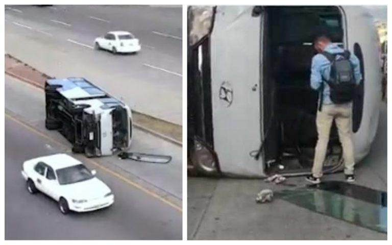 VÍDEO: Impactante volcamiento de autobús frente a la UNAH