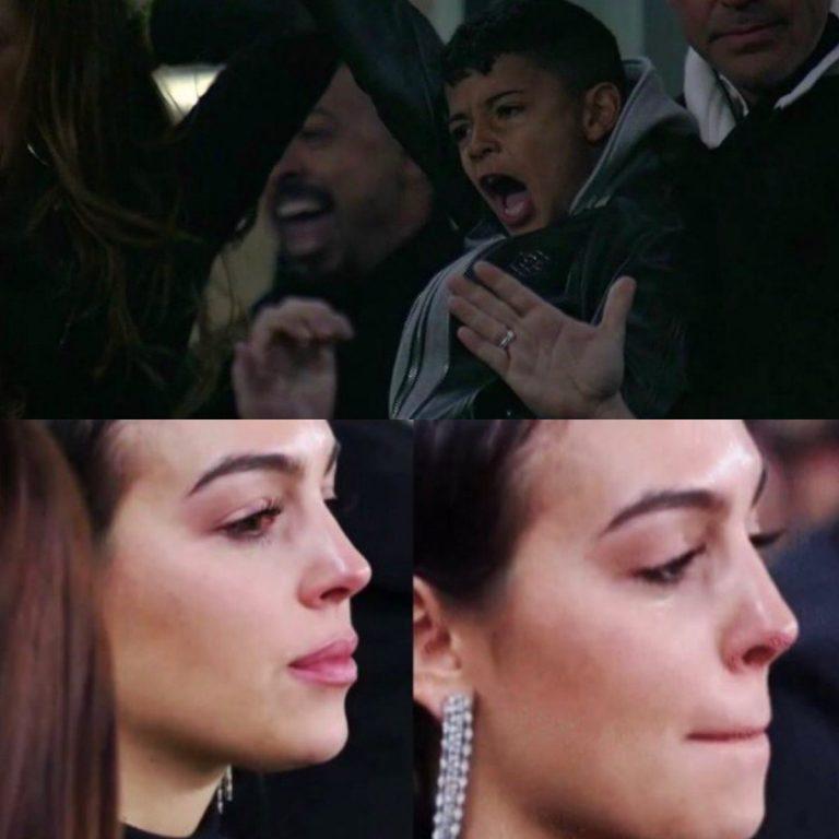 El festejo de Georgina y el hijo de Cristiano Ronaldo en el tercer gol de su papá