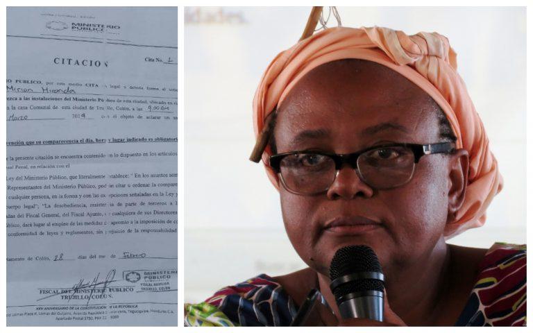 Ministerio Público cita a la ambientalista garífuna Miriam Miranda