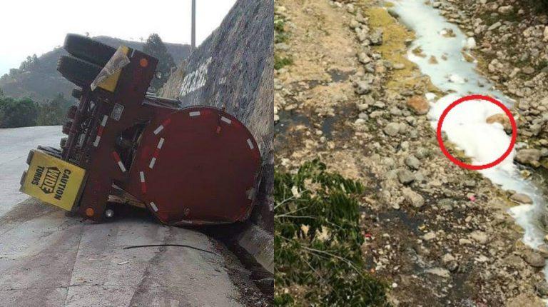 Camión que derramó ácido en río Chamelecón presuntamente es extranjero