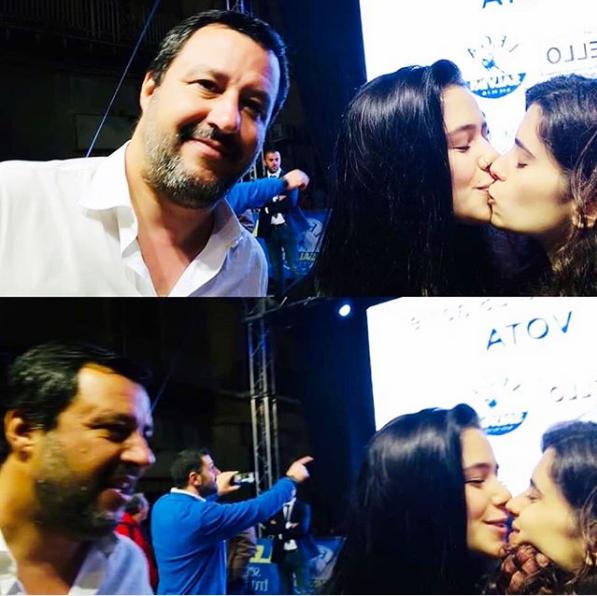 Italia: dos mujeres le piden foto a político anti-LGBT, se besan y la selfie se viraliza