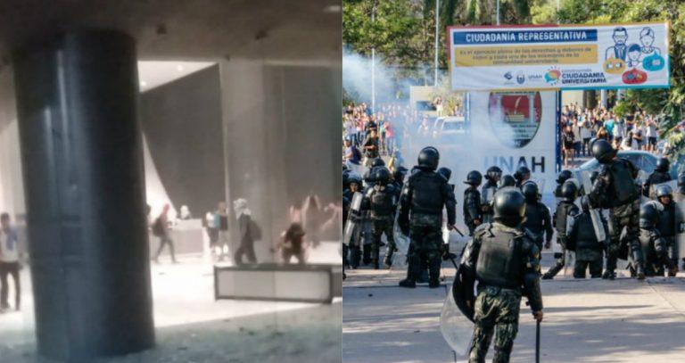 Supuestos estudiantes destrozan edificio administrativo de la UNAH