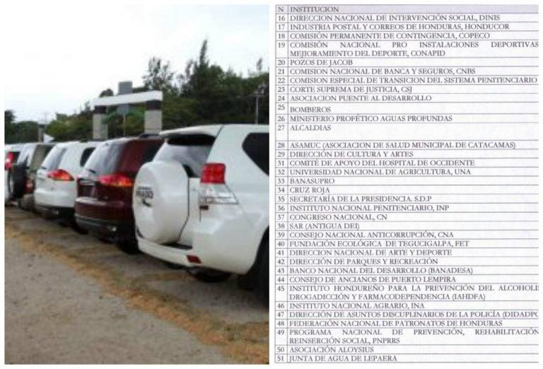 Vehículos decomisados a capos y jefes de pandillas se usan en 77 instituciones del Estado