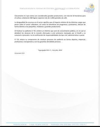 comunicado TSC