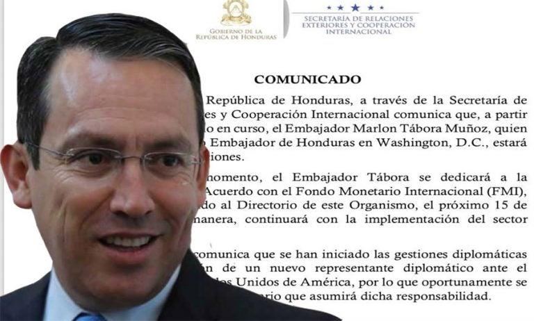 Gobierno confirma salida de  Marlon Tábora de la Embajada de Honduras en Washington