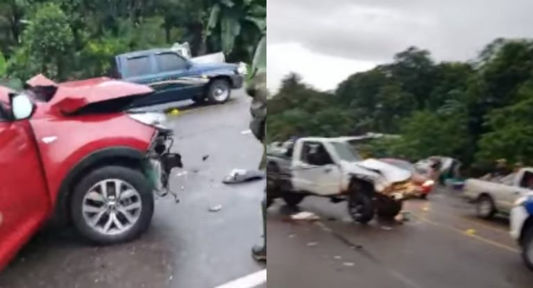 Accidente entre rastra y dos vehículos deja dos heridos en Santa Cruz de Yojoa