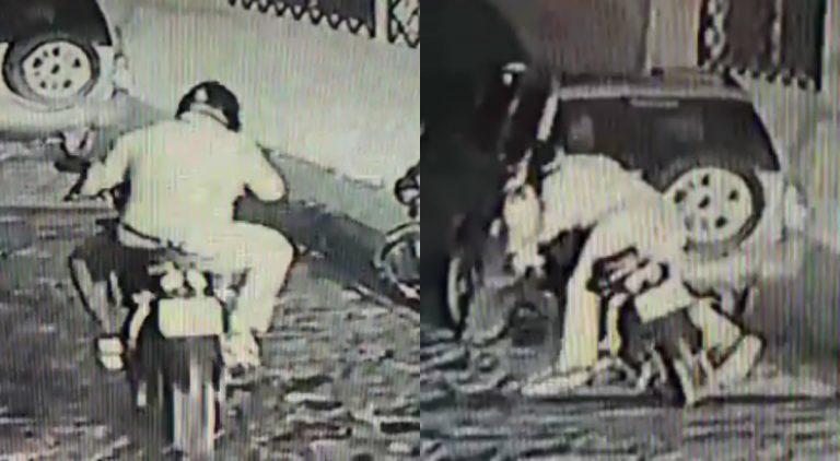 """VÍDEO: Motociclista """"despistado"""" impacta contra vehículo en Santa Rosa de Copán"""