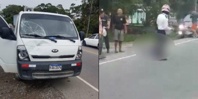 Camión embiste y mata a ciclista en La Ceiba, Atlántida