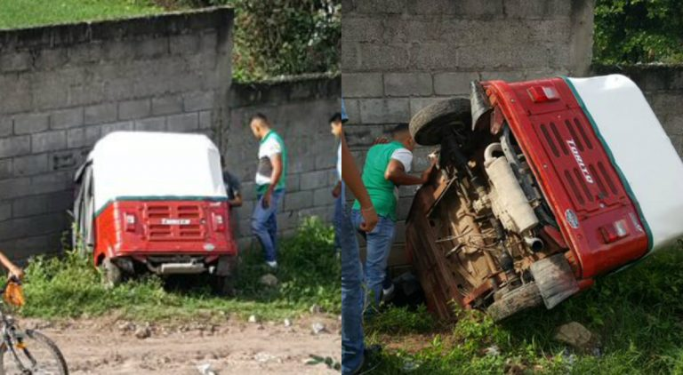 Mototaxi impacta contra muro y deja daños materiales en Santa Bárbara