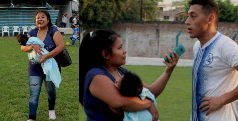 Viral: Periodista cubre partido de fútbol con bebé en brazos