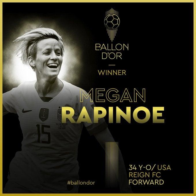 Megan Rapinoe conquista el Balón de Oro Femenino