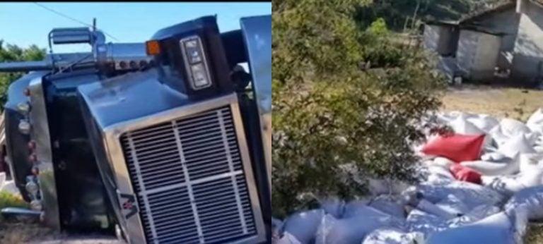 Volcamiento de rastra cargada de café deja tres lesionados en Intibucá