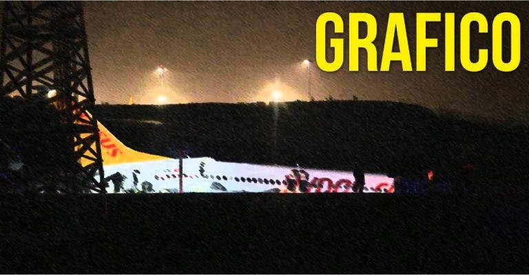 Turquía: avión se sale de la pista y se rompe en tres partes