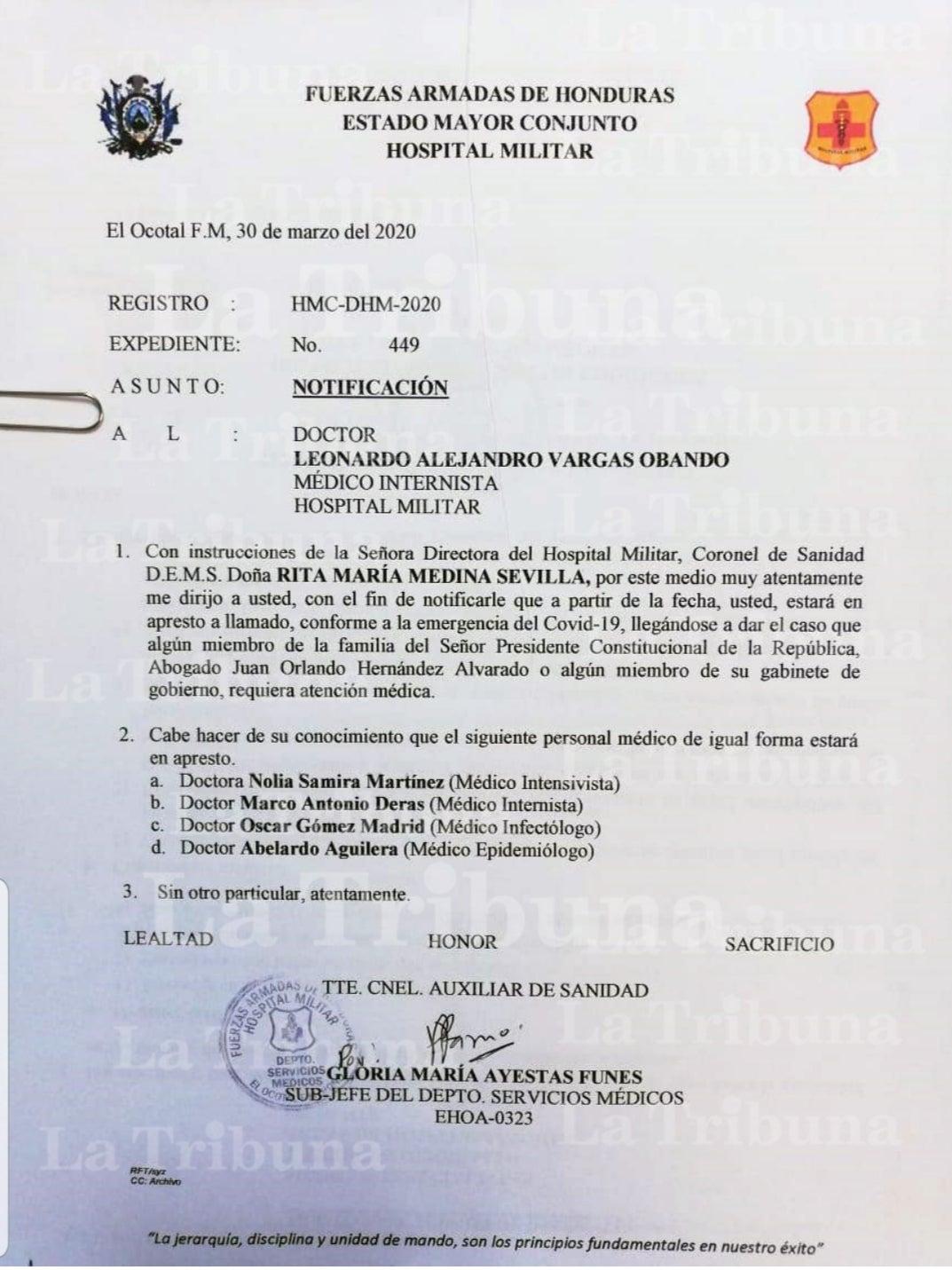 El documento enviado por las Fuerzas Armadas a los cinco elegidos para la tarea.