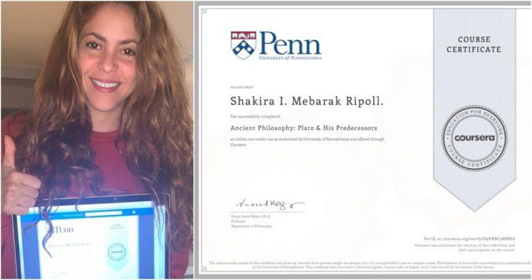 Shakira aprovecha la cuarentena y se gradúa en Filosofía antigua