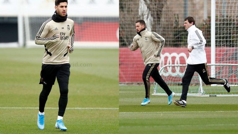 Hazard y Asencio protagonistas en el entrenamiento del Real Madrid