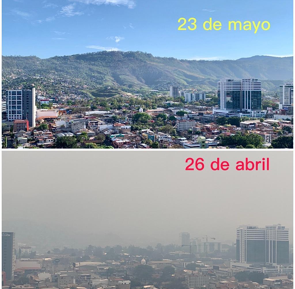 Los resultados de las lluvias en Tegucigalpa. La capa de humo se redujo considerablemente.
