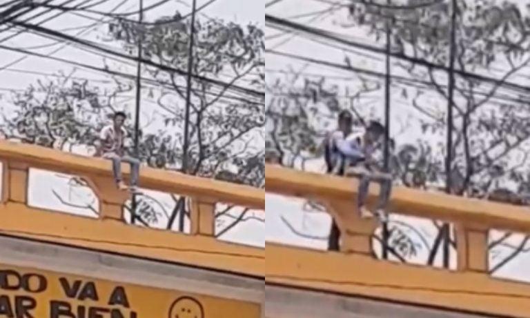 VÍDEO: joven intenta tirarse de un puente en SPS; ciudadano lo evita