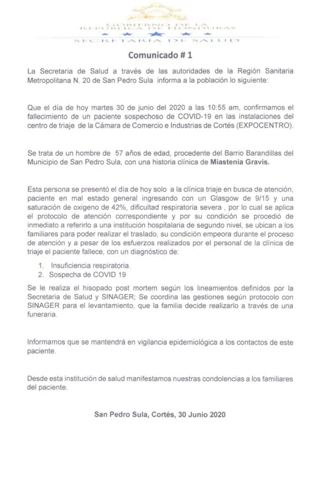 Comunicado emitido por la Región Metropolitana de Salud de San Pedro Sula.