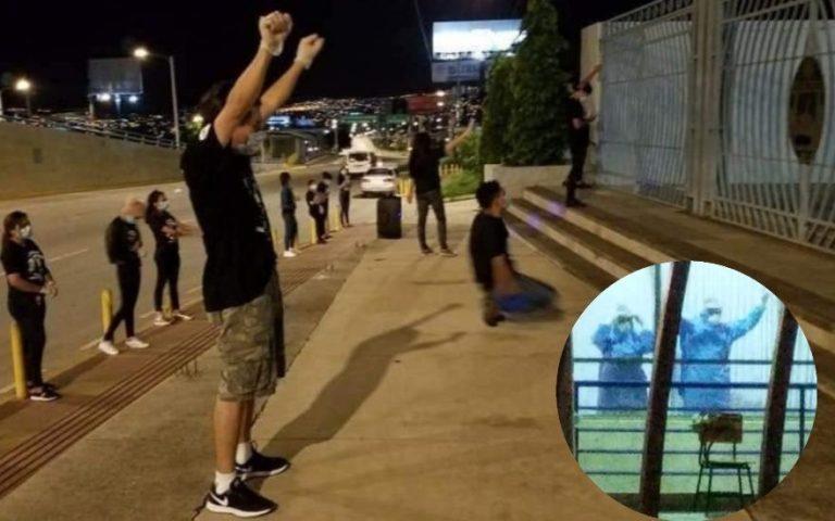 COVID-19: jóvenes llegan al Polideportivo de la UNAH a orar por contagiados