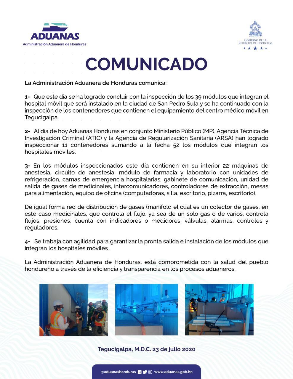 Comunicado de Adunas de Honduras.