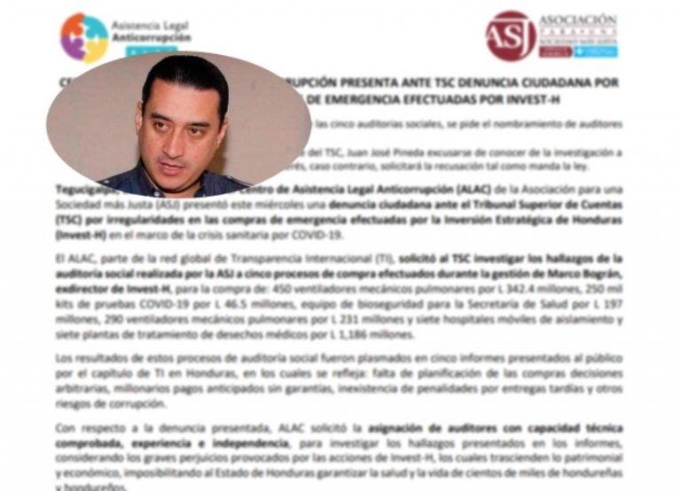Ante el TSC, la ASJ denuncia a INVEST-H por compras irregulares