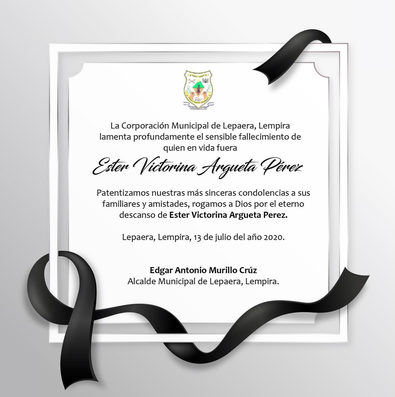 Comunicado emitido por la Municipalidad de Lepaera.