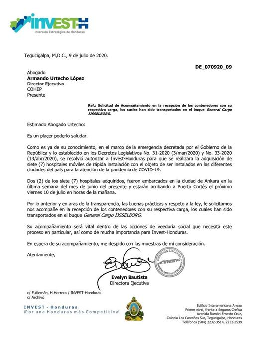La supuesta carta de invitación enviada por INVEST-H al COHEP.