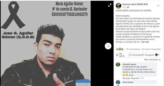 Hondureño asesinado en españa