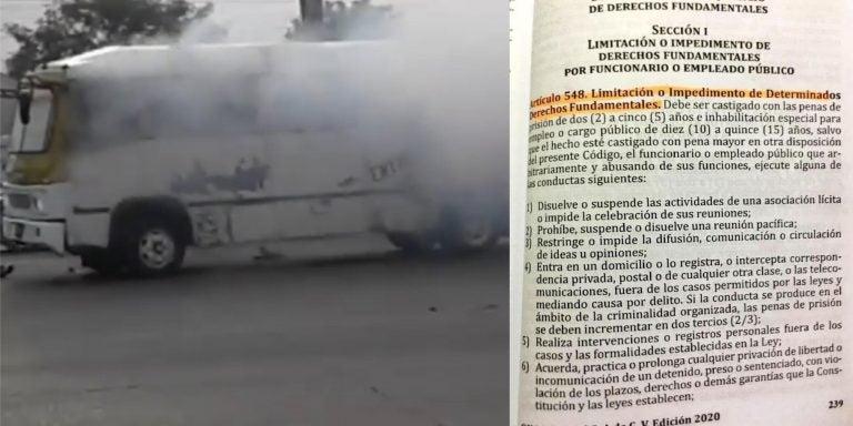 Requerimiento fiscal contra policía que arrojó bomba lacrimógena en autobús