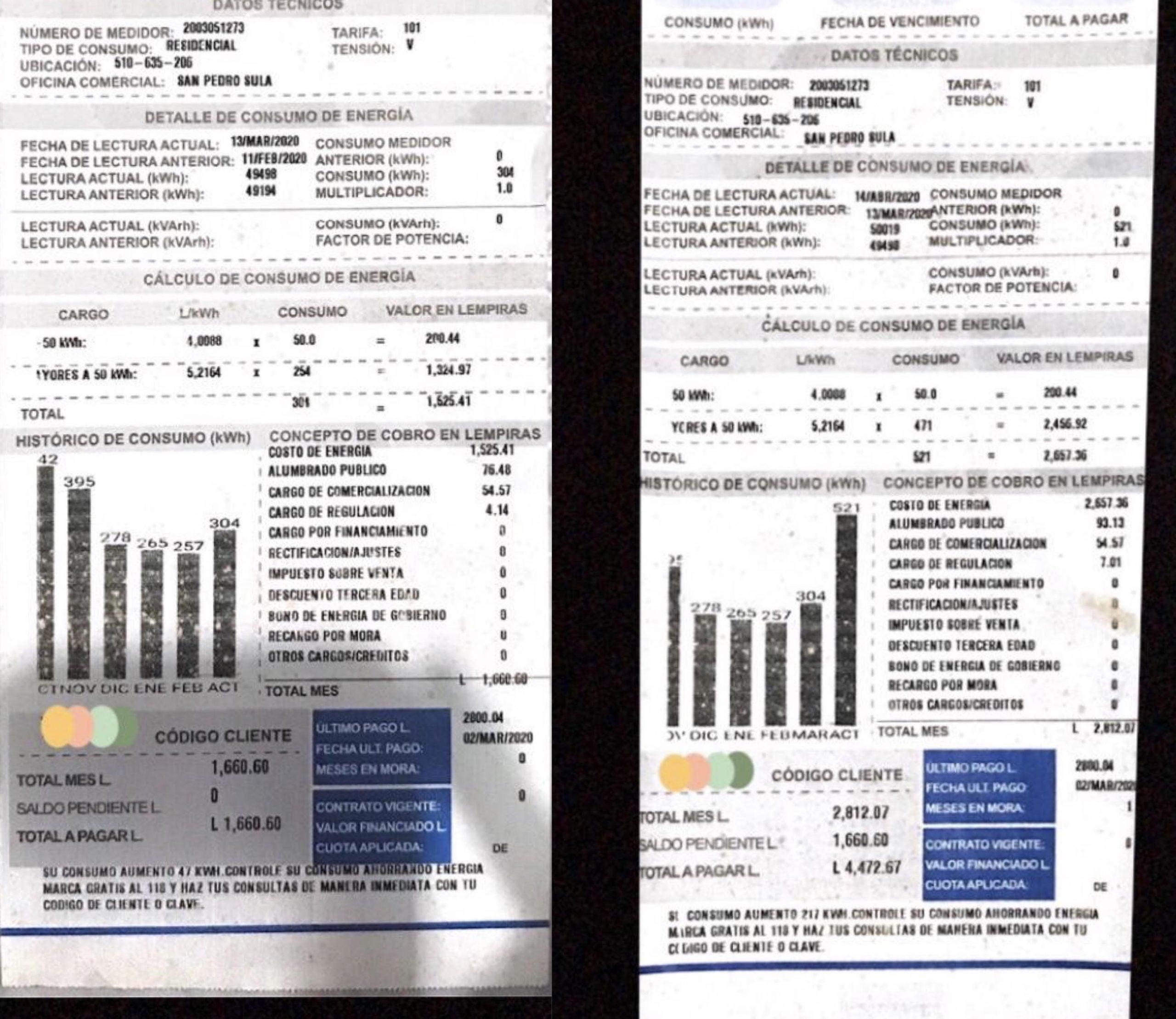 Comparación de recibos: mes de febrero y mes de mayo.