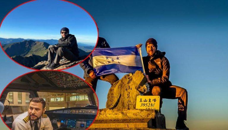 Catracho escala montaña de Taiwán y coloca bandera de Honduras en la cima