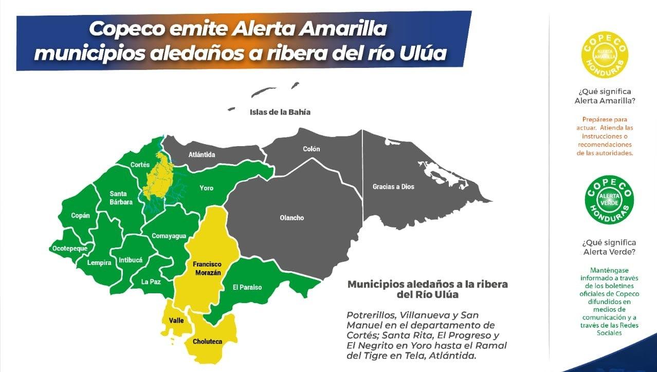 alerta amarilla en municipio del río Ulúa