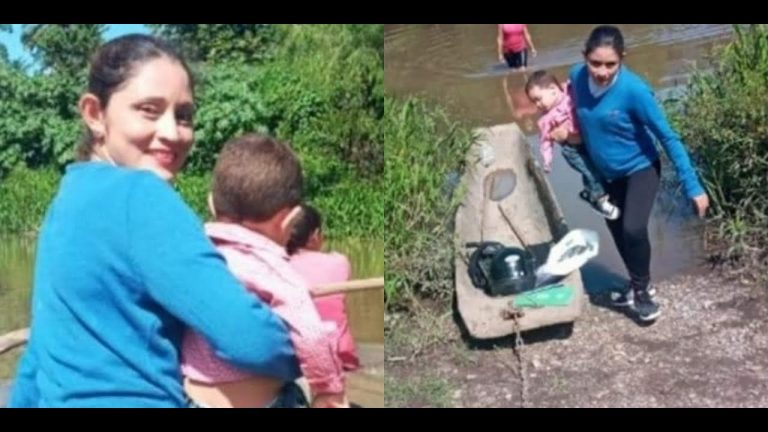 Junto a su bebé, maestra hace recorrido en moto y canoa para impartir clases