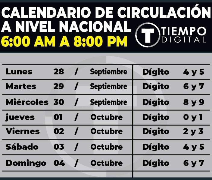 Circulación autorizada hasta el domingo 4 de octubre.
