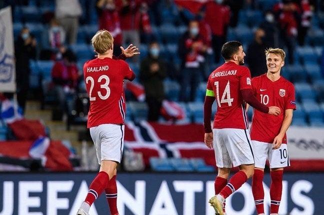 Erling Haaland marca su primer triplete con Noruega