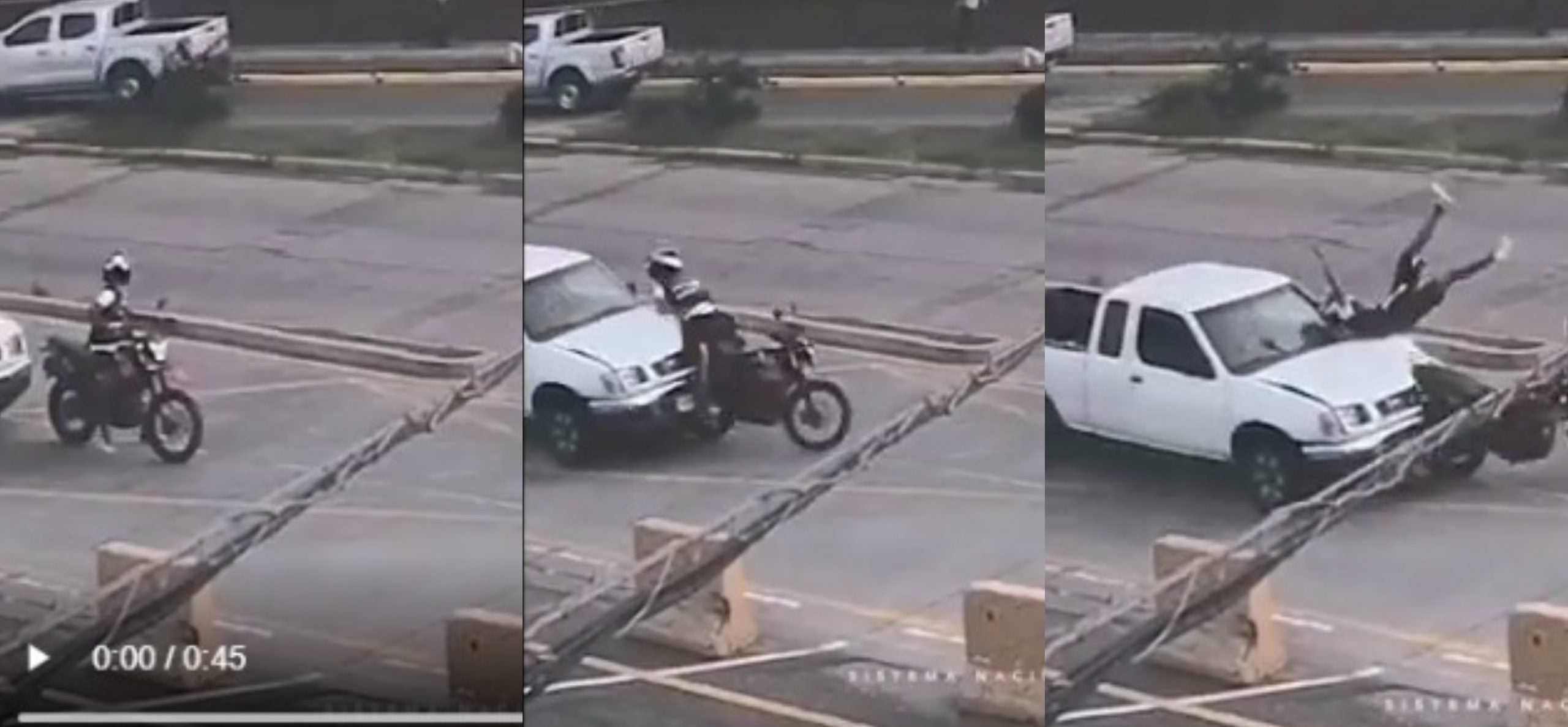 VIDEO | Conductor de pick-up embiste a motociclista en bulevar Suyapa