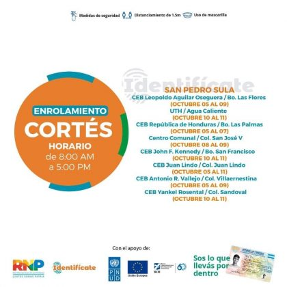 Enrolamiento en municipios de Cortés
