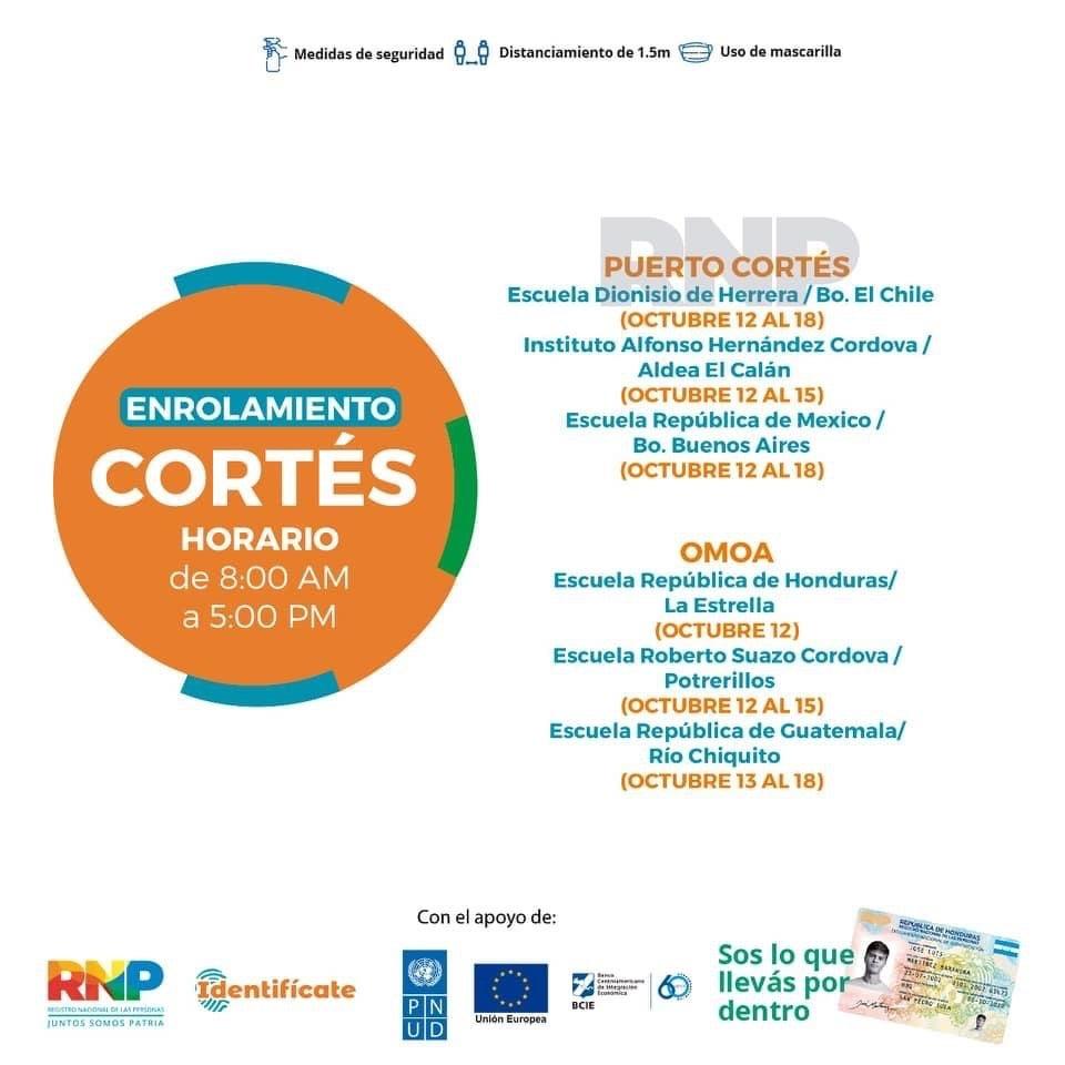municipios de Cortés enrolamiento