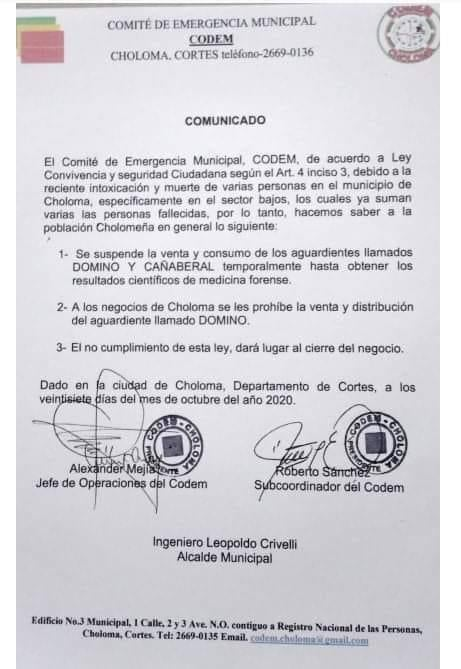 Comunicado del Comité de Emergencia Municipal (CODEM).