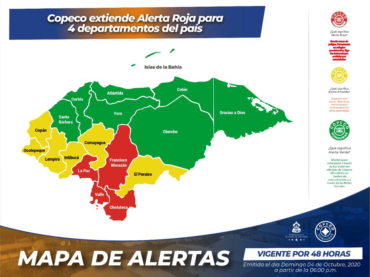 Tormenta Gamma: COPECO extiende Alerta Roja para cuatro departamentos
