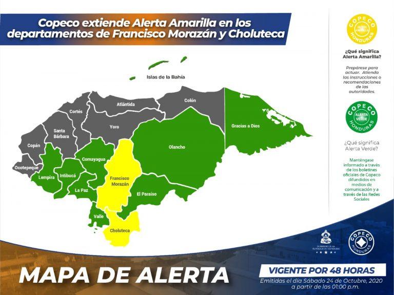 Por vaguada: COPECO extiende alerta amarilla en Francisco Morazán y Choluteca