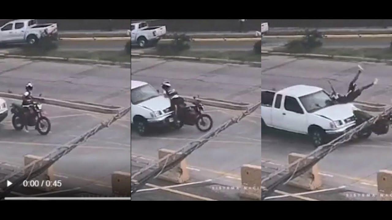 VIDEO   Conductor de pick-up embiste a motociclista en bulevar Suyapa