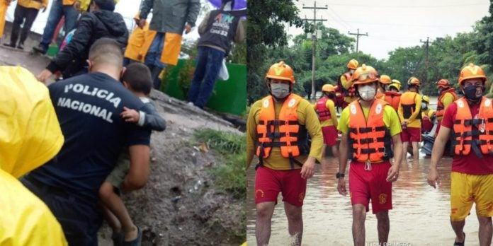 policías bomberos afectados Eta Iota