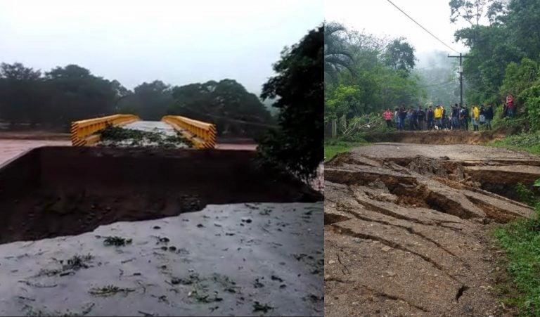 Más de cinco municipios incomunicados por colapso de puente en Santa Bárbara
