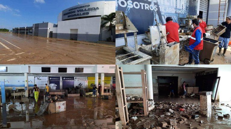 Pulcro aeropuerto de SPS quedó atestado de lodo: así avanza la limpieza