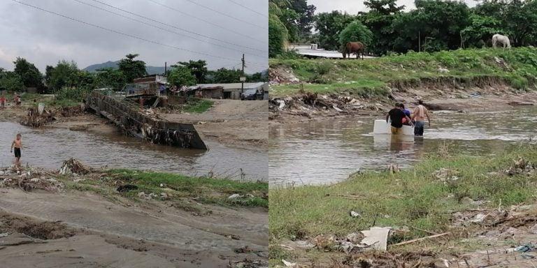 Residentes de la Flor de Cuba cruzan quebrada en «refrigeradora»; puente se derrumbó