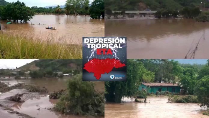 Potrerillos y Pimienta inundados